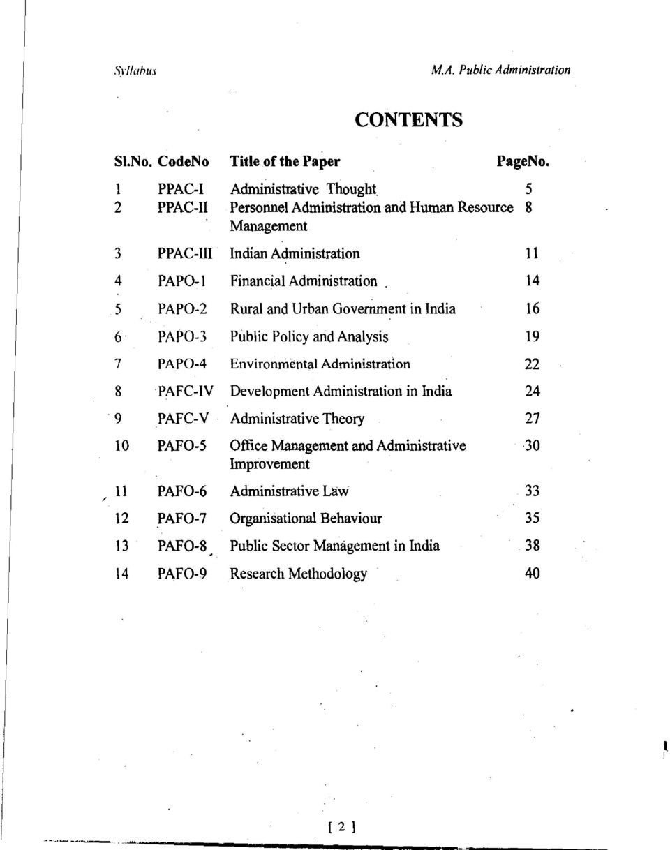 Administration 14 5 PAPO-2 Rural and Urban Government in India 16 6 PAPO-3 Public Policy and Analysis 19 7 PA P0-4 Environmental Administration 22 8 PAFC-IV
