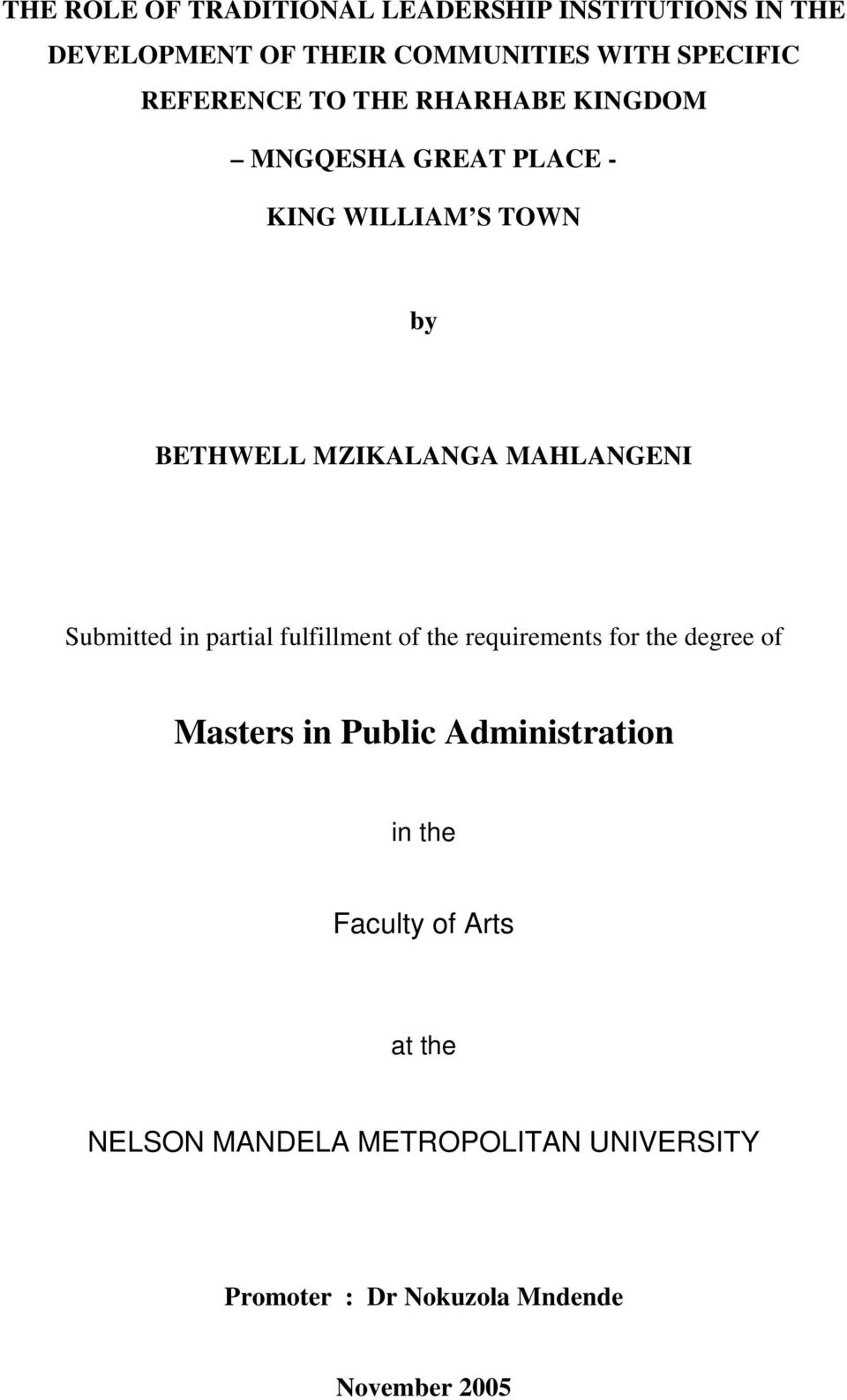 MAHLANGENI Submitted in partial fulfillment of the requirements for the degree of Masters in Public