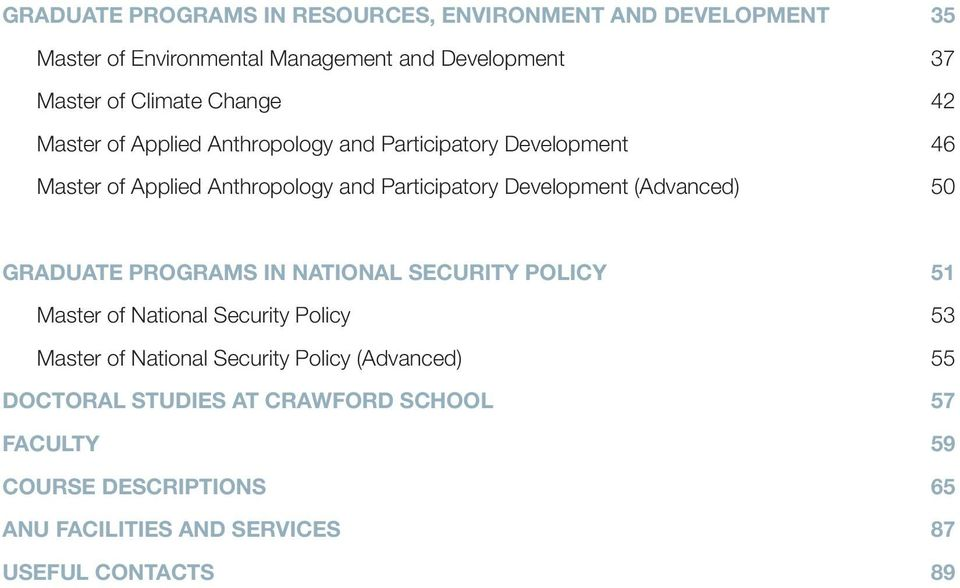 Participatory Development (Advanced) 50 PROAMS IN NATIONAL SECURITY POLICY 51 Master of National Security Policy 53