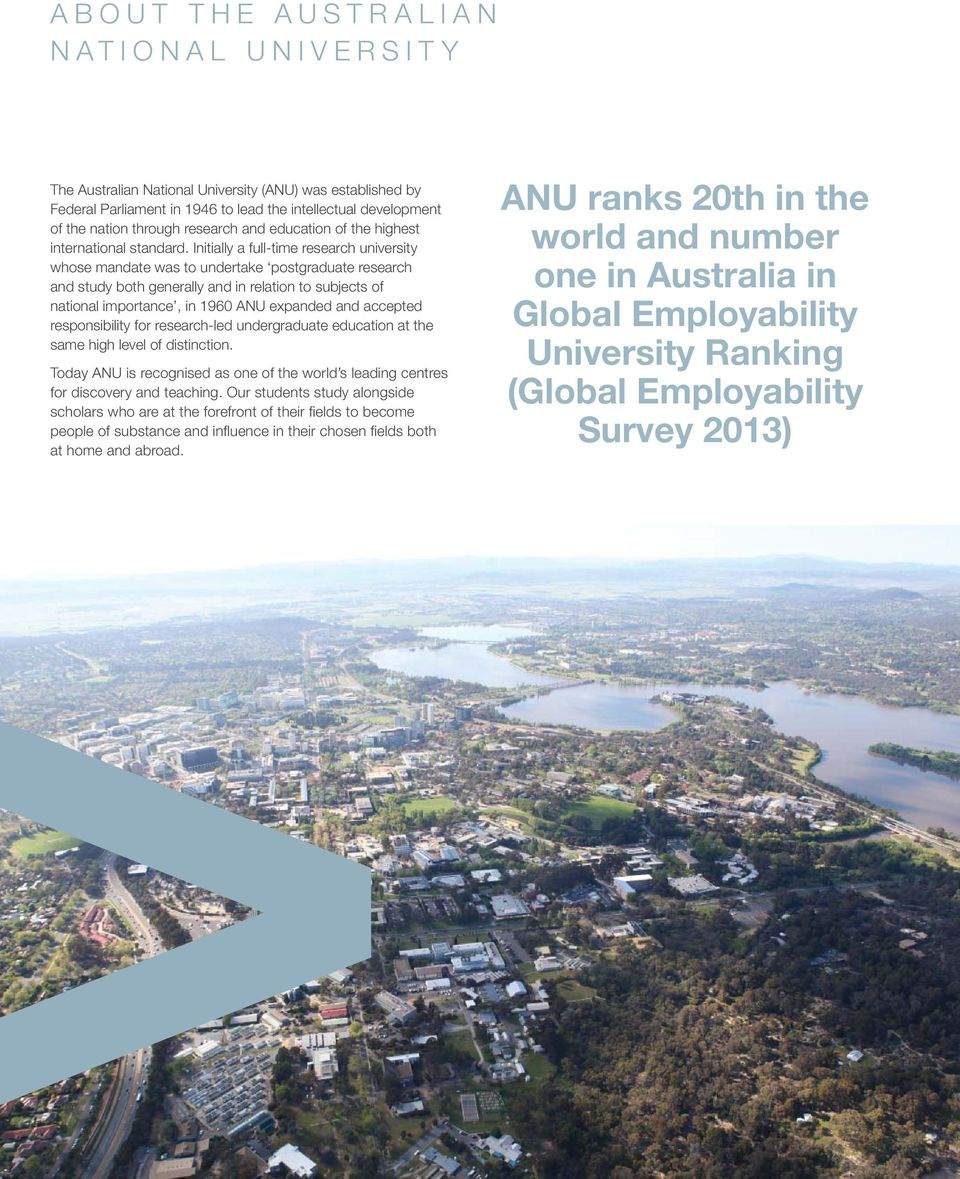 Initially a full-time research university whose mandate was to undertake postgraduate research and study both generally and in relation to subjects of national importance, in 1960 ANU expanded and