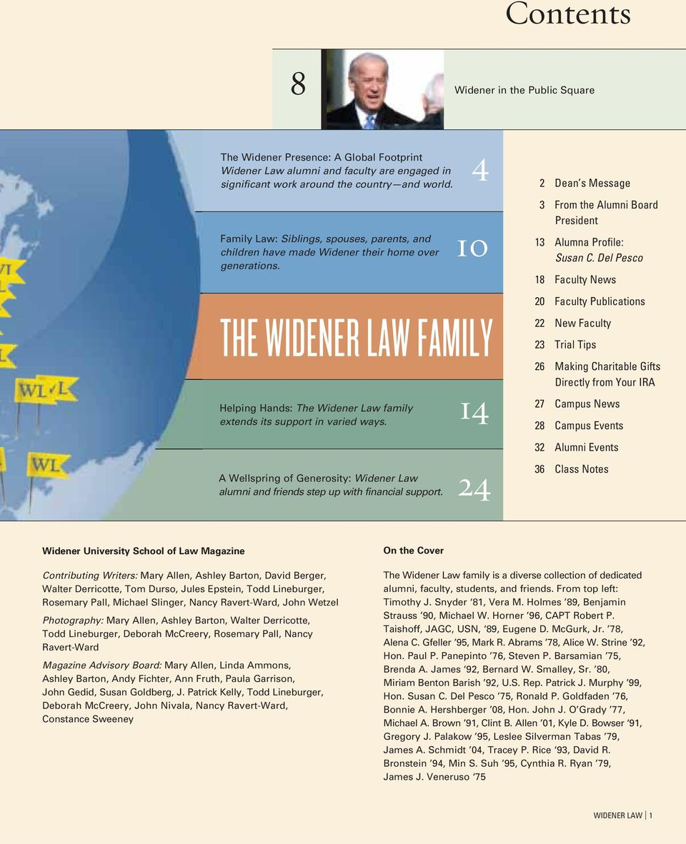 Del Pesco 18 Faculty News 20 Faculty Publications THE WIDENER LAW FAMILY Helping Hands: The Widener Law family 14 extends its support in varied ways.