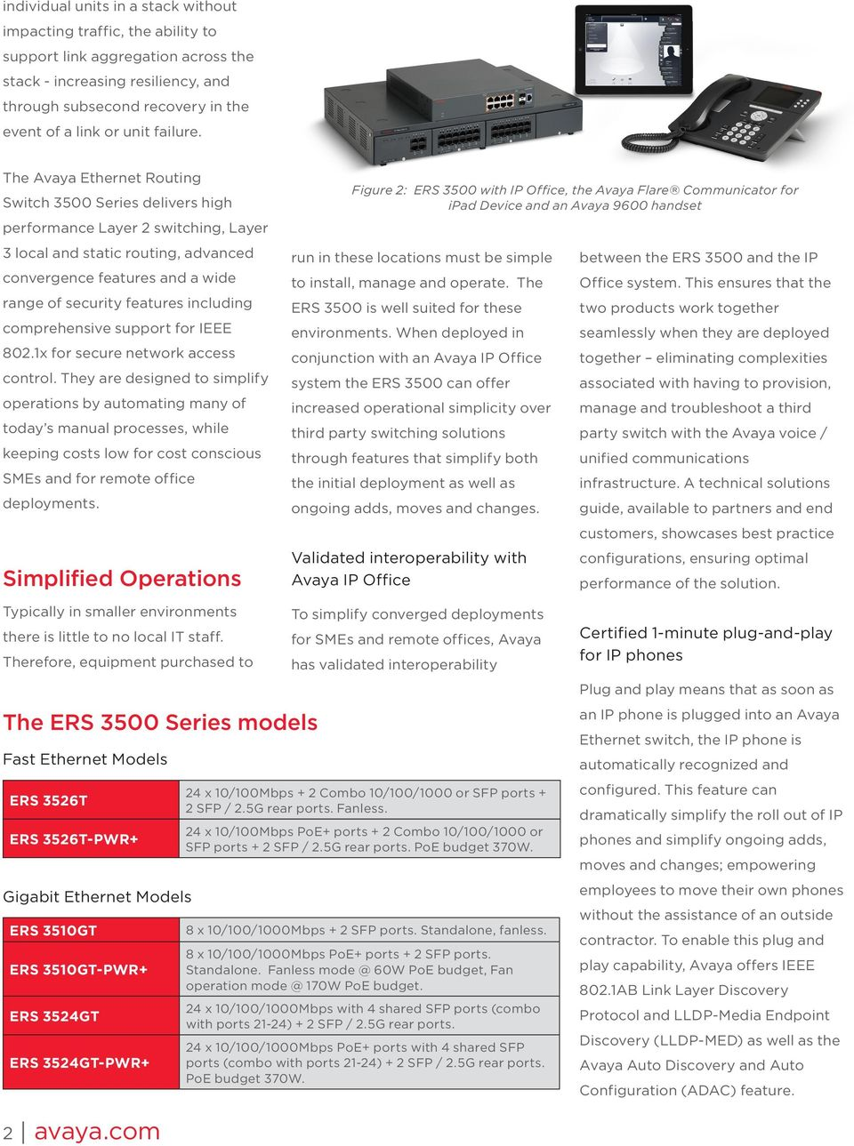 The Avaya Ethernet Routing Switch 3500 Series delivers high performance Layer 2 switching, Layer 3 local and static routing, advanced convergence features and a wide range of security features