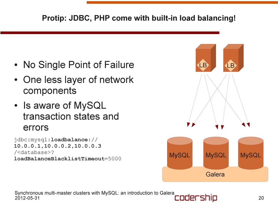 transaction states and errors jdbc:mysql:loadbalance:// 10.0.0.1,10.0.0.2,10.0.0.3 /<database>?