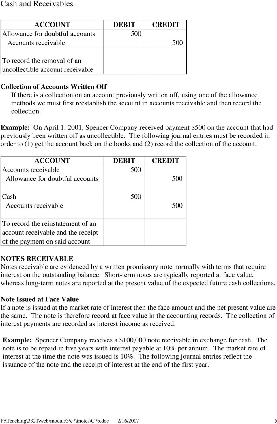 Example: On April 1, 2001, Spencer Company received payment $500 on the account that had previously been written off as uncollectible.