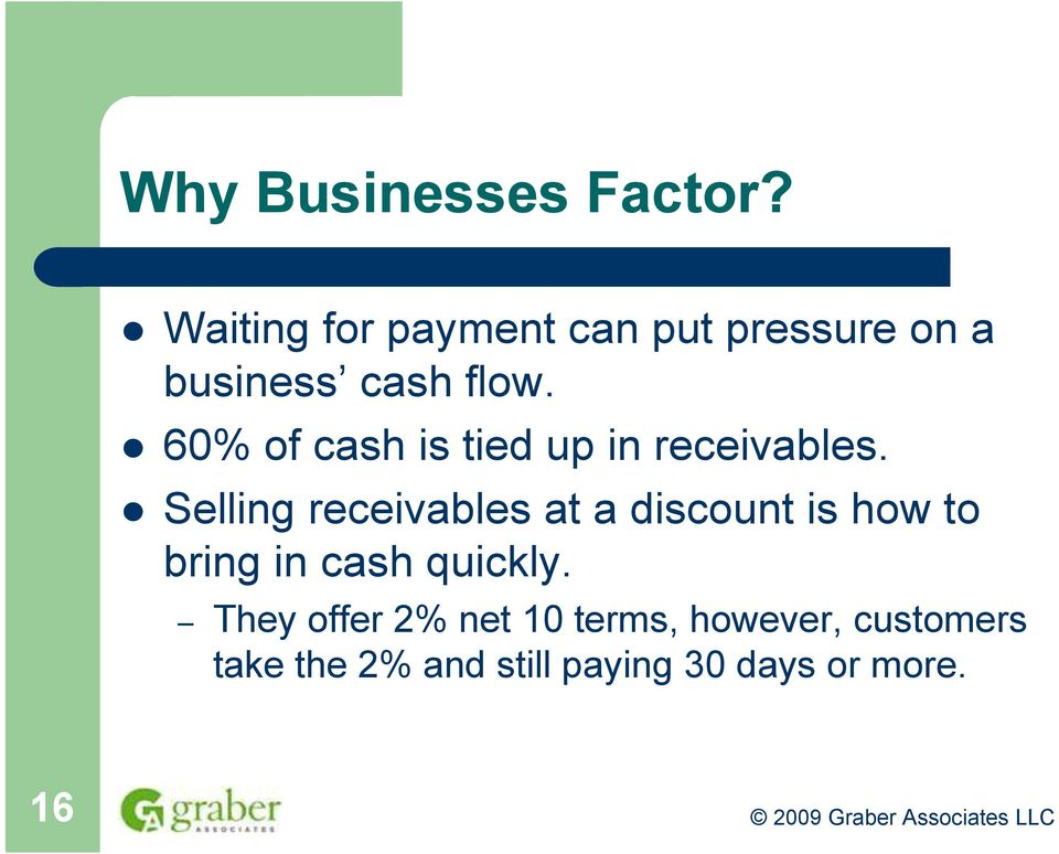 60% of cash is tied up in receivables.