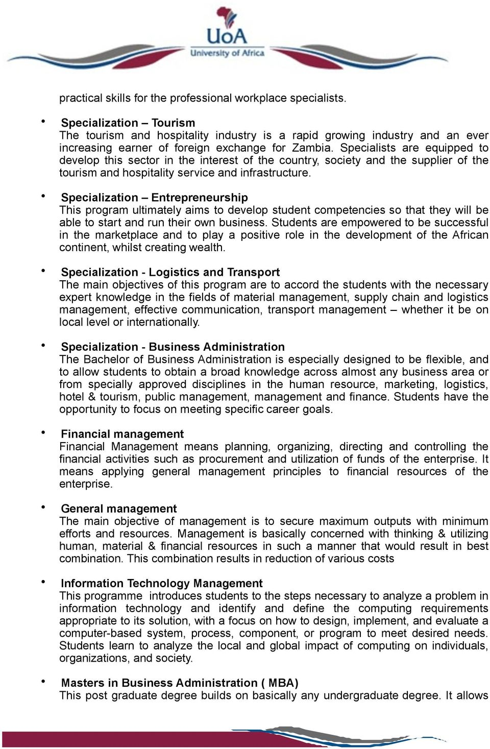 university of africa prospectus pdf specialists are equipped to develop this sector in the interest of the country society and
