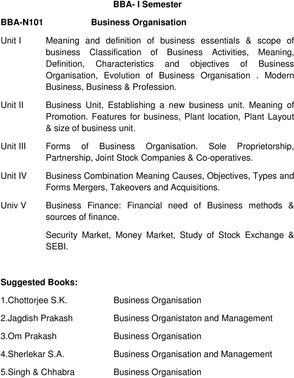 Features for business, Plant location, Plant Layout & size of business unit. II Forms of Business Organisation. Sole Proprietorship, Partnership, Joint Stock Companies & Co-operatives.