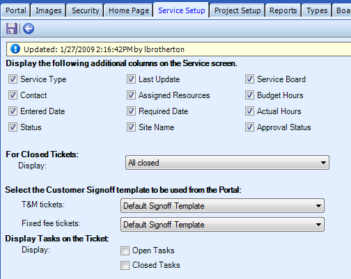 Service Setup tab: The following table defines the screen elements that display on the Service Setup tab: Display the following additional columns on the Service List For Closed Tickets A marked