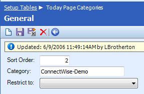 Table Name: Today Page Categories The Today Page Categories table is used to create categories for grouping web links on the ConnectWise Today page.