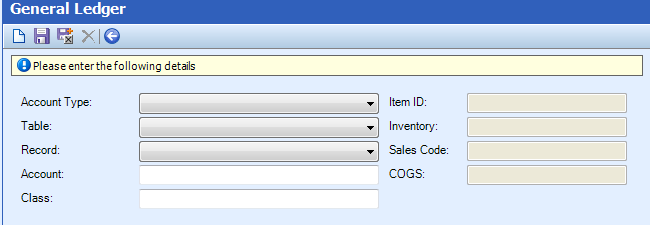 Table Name: GL Accounts The GL Accounts table is used to create general ledger accounts in ConnectWise. The following table defines the screen elements that display on the GL Accounts screen.
