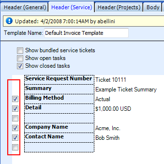 Header (Service) Tab The Header (Service) tab is used to select the identifying information that displays with Service tickets on invoices.