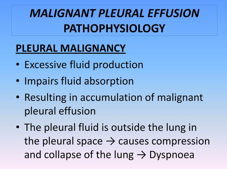 pleural effusion The pleural fluid is outside the lung in the