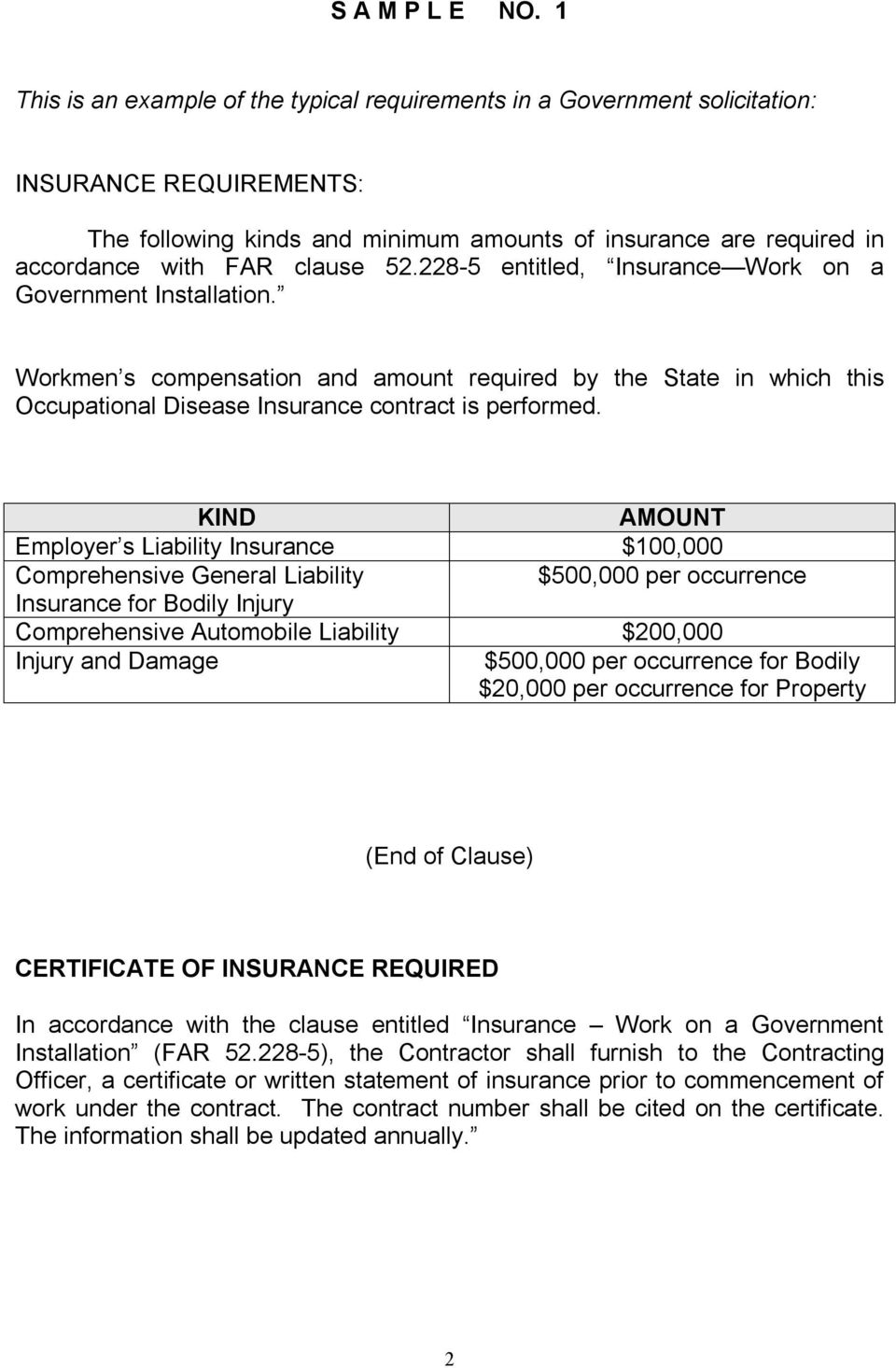52.228 5 entitled, Insurance Work on a Government Installation. Workmen s compensation and amount required by the State in which this Occupational Disease Insurance contract is performed.
