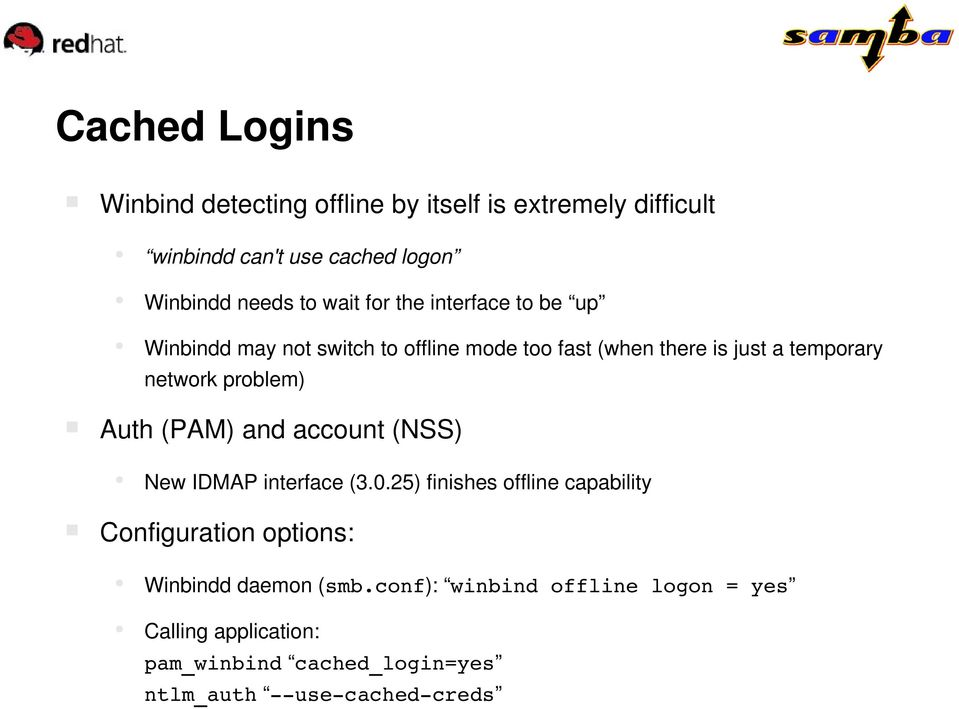 problem) Auth (PAM) and account (NSS) New IDMAP interface (3.0.