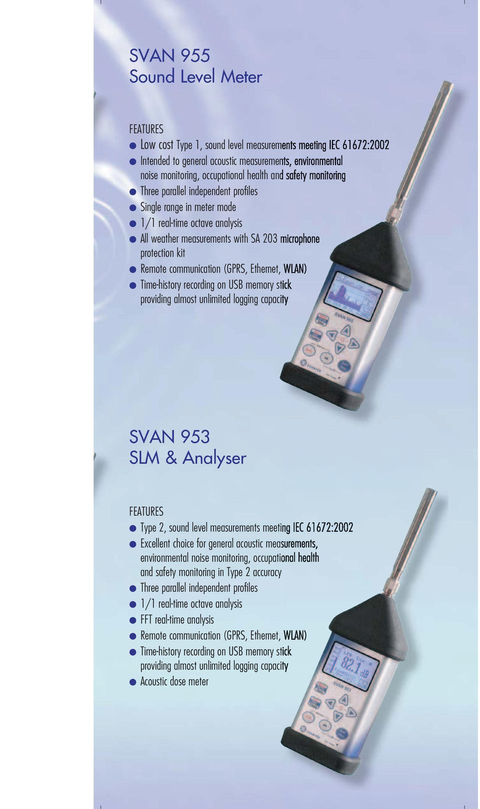 WLAN) Time-history recording on USB memory stick providing amost unimited ogging capacity SVAN 953 SLM & Anayser Type 2, sound eve measurements meeting IEC 61672:2002 Exceent choice for genera
