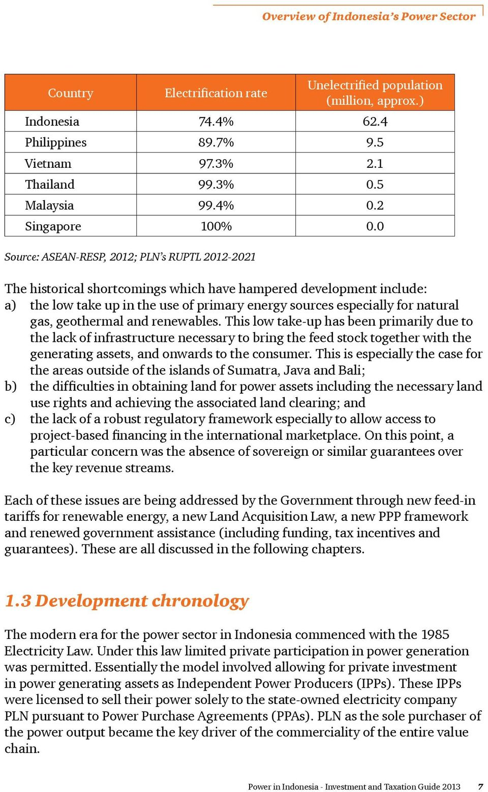 0 Source: ASEAN-RESP, 2012; PLN s RUPTL 2012-2021 The historical shortcomings which have hampered development include: a) the low take up in the use of primary energy sources especially for natural