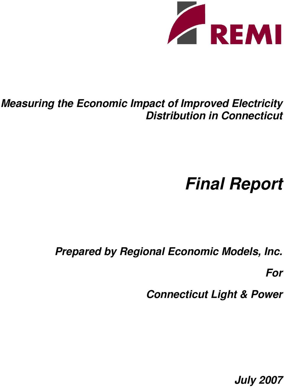 Final Report Prepared by Regional Economic