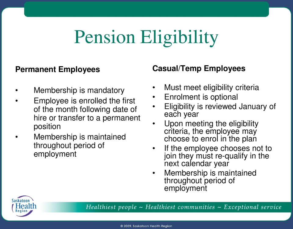 criteria Enrolment is optional Eligibility is reviewed January of each year Upon meeting the eligibility criteria, the employee may choose to