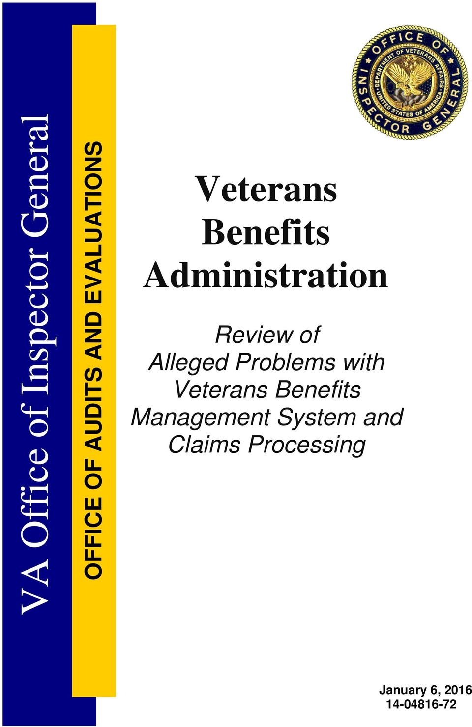 of Alleged Problems with Veterans Benefits Management