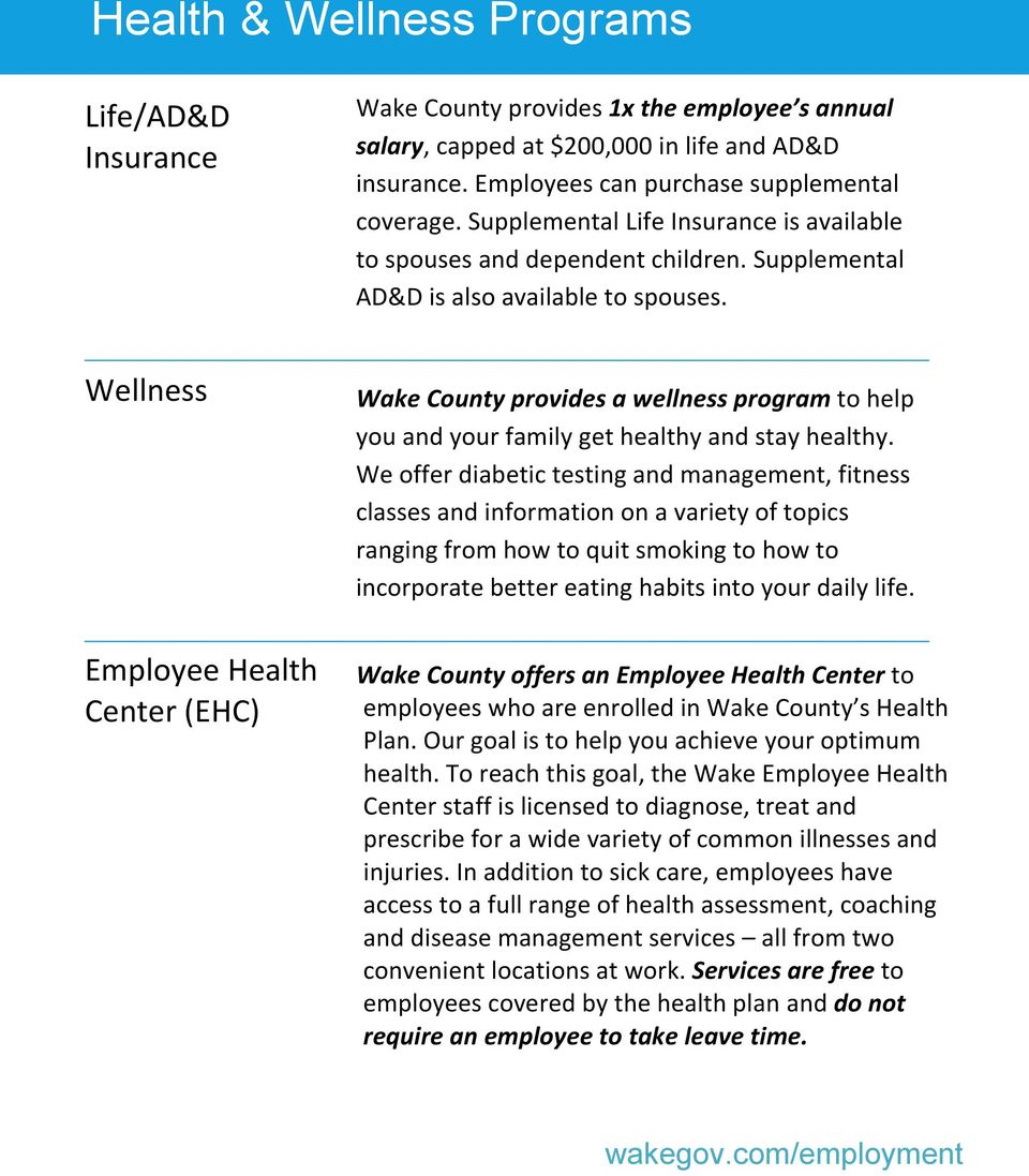 Wellness Wake County provides a wellness program to help you and your family get healthy and stay healthy.