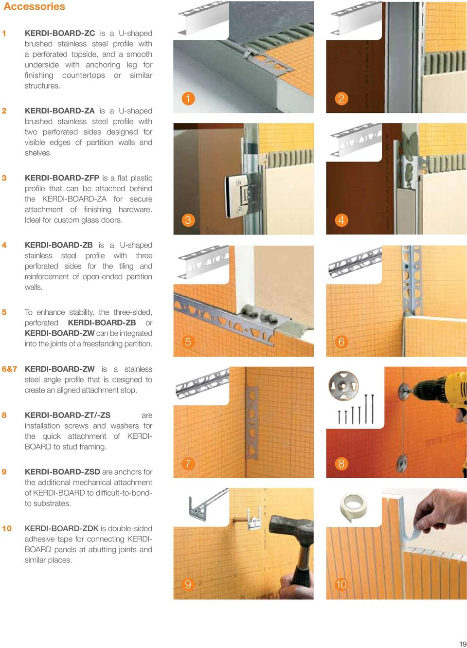 1 2 3 KERDI-BOARD-ZFP is a flat plastic profile that can be attached behind the KERDI-BOARD-ZA for secure attachment of finishing hardware. Ideal for custom glass doors.