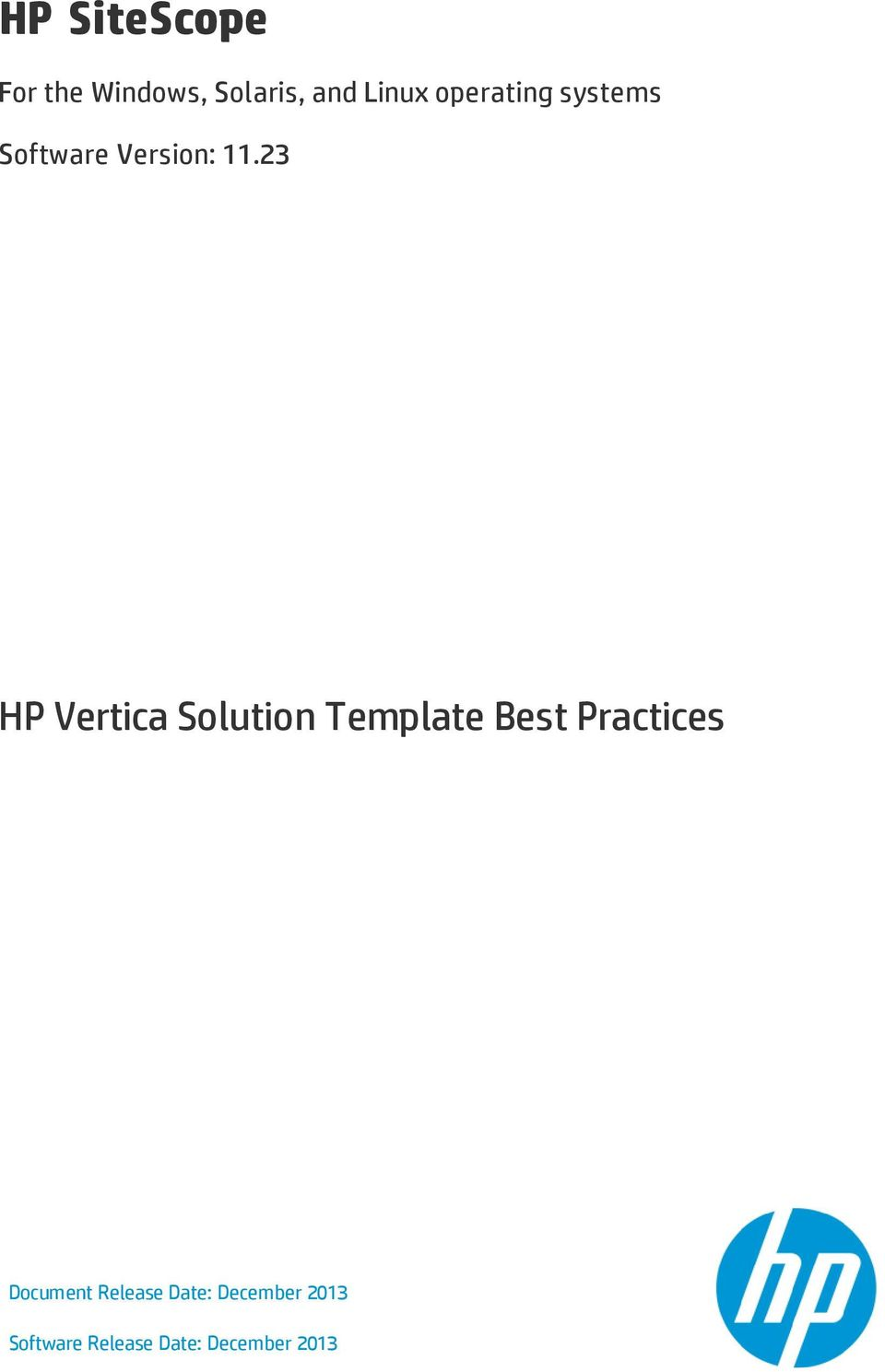 Hp sitescope hp vertica solution template best practices for Sitescope templates