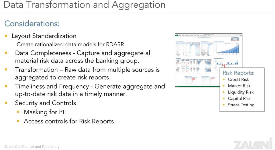 Transformation Raw data from multiple sources is aggregated to create risk reports.