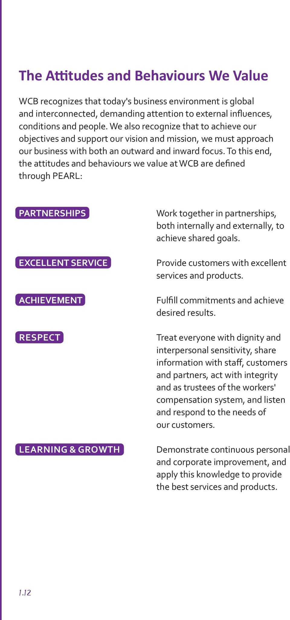 To this end, the attitudes and behaviours we value at WCB are defined through PEARL: PARTNERSHIPS EXCELLENT SERVICE ACHIEVEMENT RESPECT LEARNING & GROWTH Work together in partnerships, both