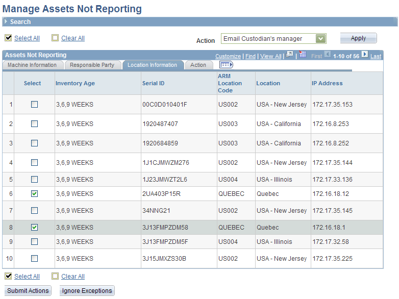 Chapter 8 Managing Exceptions Manage Assets Not Reporting page: Location Information tab ARM Location Code and Location Displays the location shown in the asset repository.