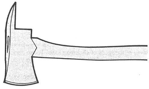 This ax has a steel head with a cutting blade or bit at one end, and a spike-like extension at the other. The single-bit ax is used to cut down or prune trees.