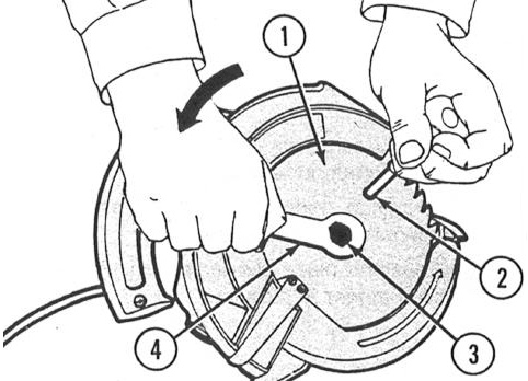 USING THE PORTABLE ELECTRIC CIRCULAR SAW - Continued Select the proper saw blade for the task and attach as follows: 1 Make sure power to saw is disconnected.