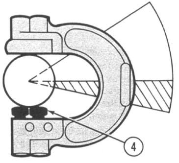 USING AN ADJUSTABLE SNAP GAGE - Continued 3 Move the gage to the position shown above. If the NO GO button (4) stops the gage, the shaft is within limits.