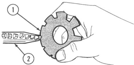 Measure gage setting with an outside micrometer. (To use an outside micrometer, refer to chapter 7 in this manual.) USING A THREAD CUTTING TOOL GAGE 1.