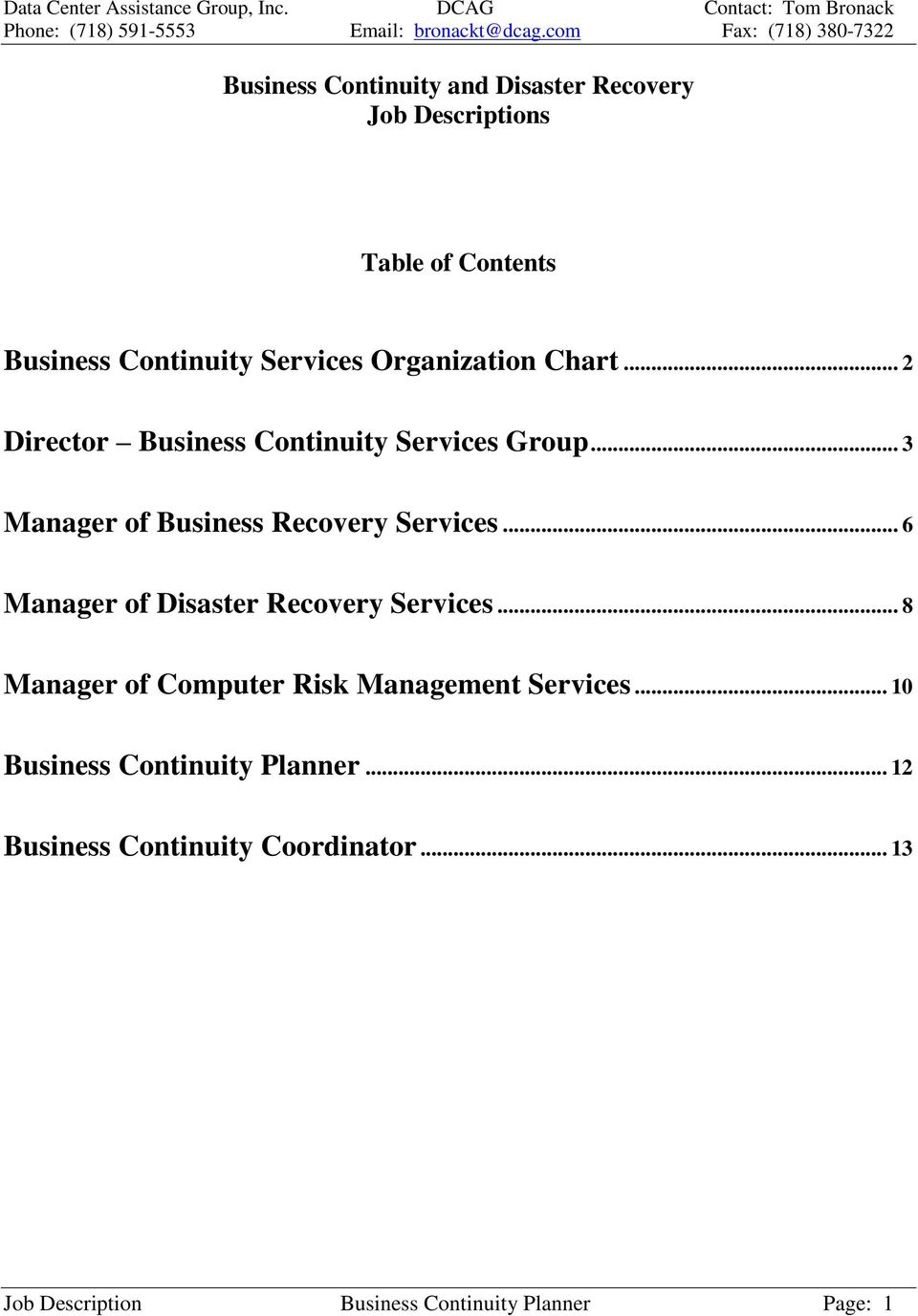 .. 6 Manager of Disaster Recovery Services... 8 Manager of Computer Risk Management Services.