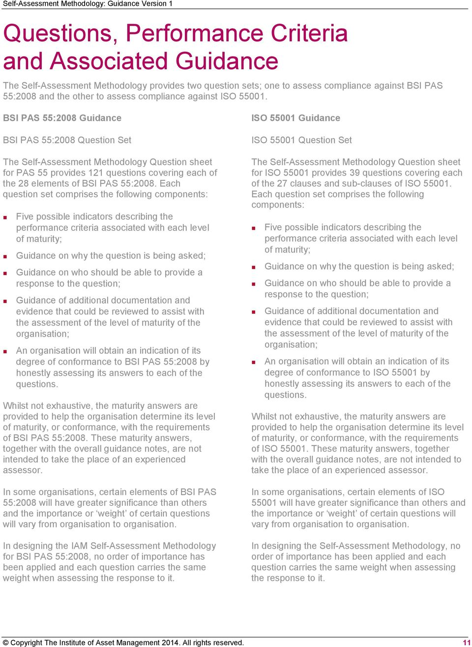 BSI PAS 55:2008 Guidance BSI PAS 55:2008 Question Set The Self-Assessment Methodology Question sheet for PAS 55 provides 121 questions covering each of the 28 elements of BSI PAS 55:2008.