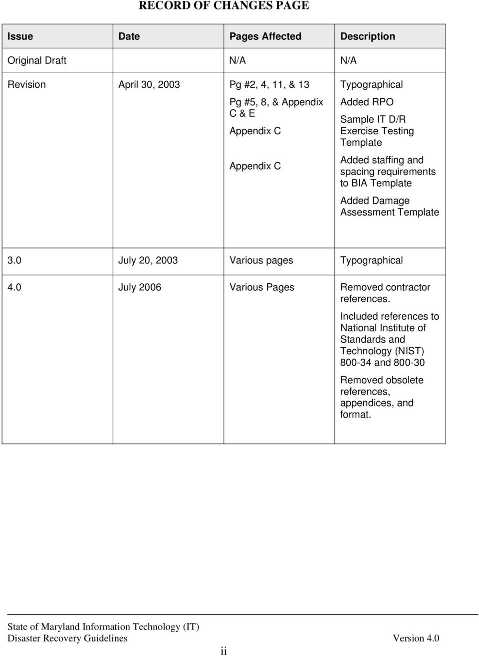BIA Template Added Damage Assessment Template 3.0 July 20, 2003 Various pages Typographical 4.