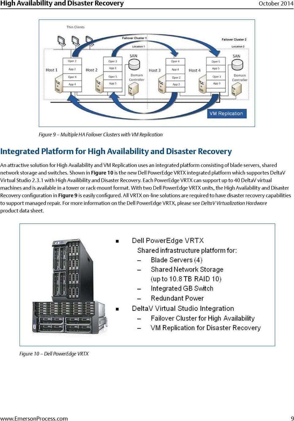 1 with High Availibility and Disaster Recovery. Each PowerEdge VRTX can support up to 40 DeltaV virtual machines and is available in a tower or rack-mount format.