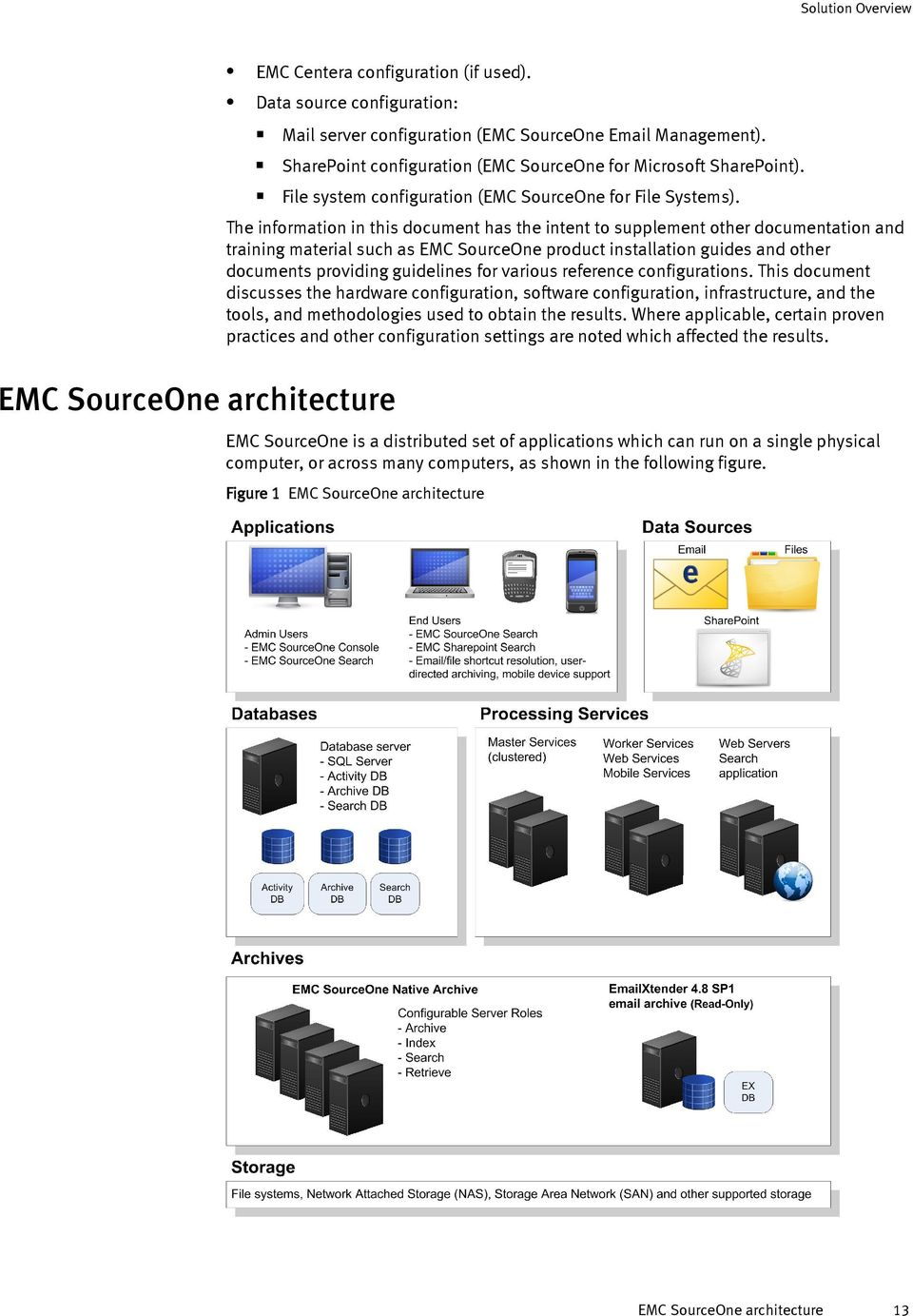 The information in this document has the intent to supplement other documentation and training material such as EMC SourceOne product installation guides and other documents providing guidelines for