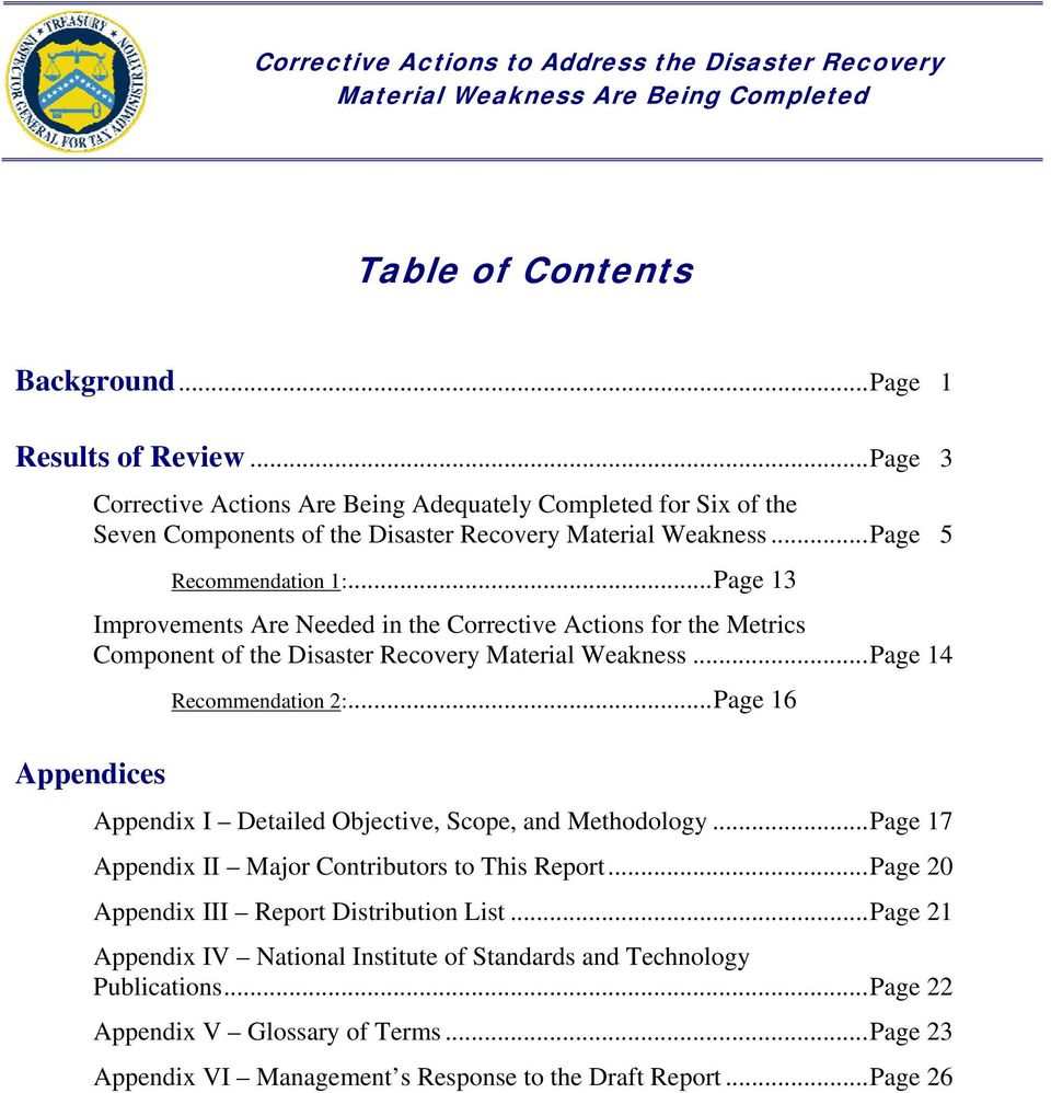 .. Page 14 Appendices Recommendation 2:... Page 16 Appendix I Detailed Objective, Scope, and Methodology... Page 17 Appendix II Major Contributors to This Report.
