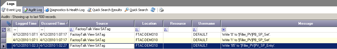 AssetCentre Audit Log View 1. Set focus to FactoryTalk AssetCentre and start the Logs plug-in by clicking the Logs button. The Logs plug-in will open in the workspace pane. 2.