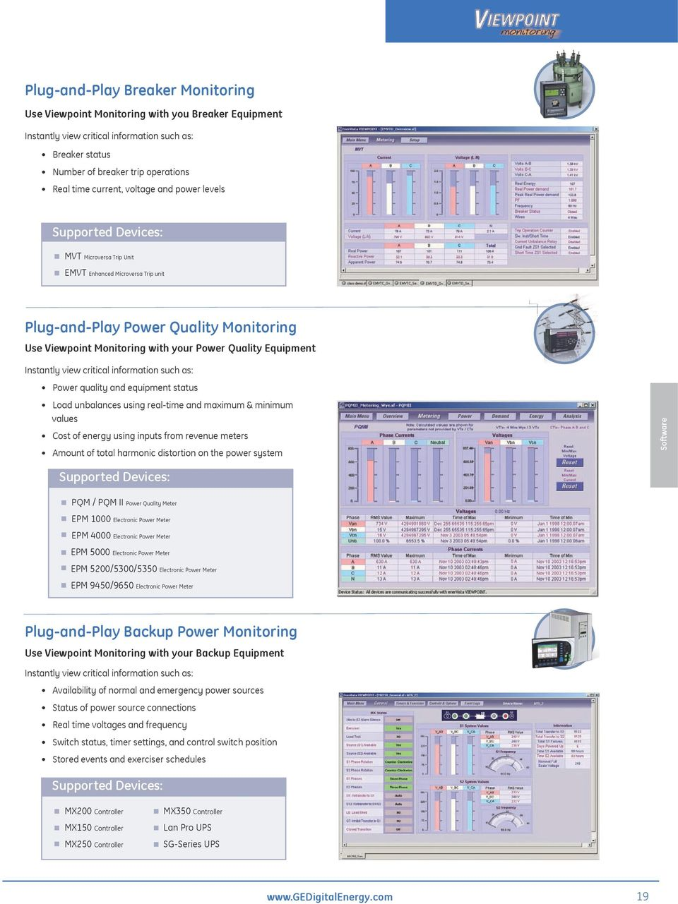 Equipment Instantly view critical information such as: Power quality and equipment status Load unbalances using real-time and maximum & minimum values Cost of energy using inputs from revenue meters