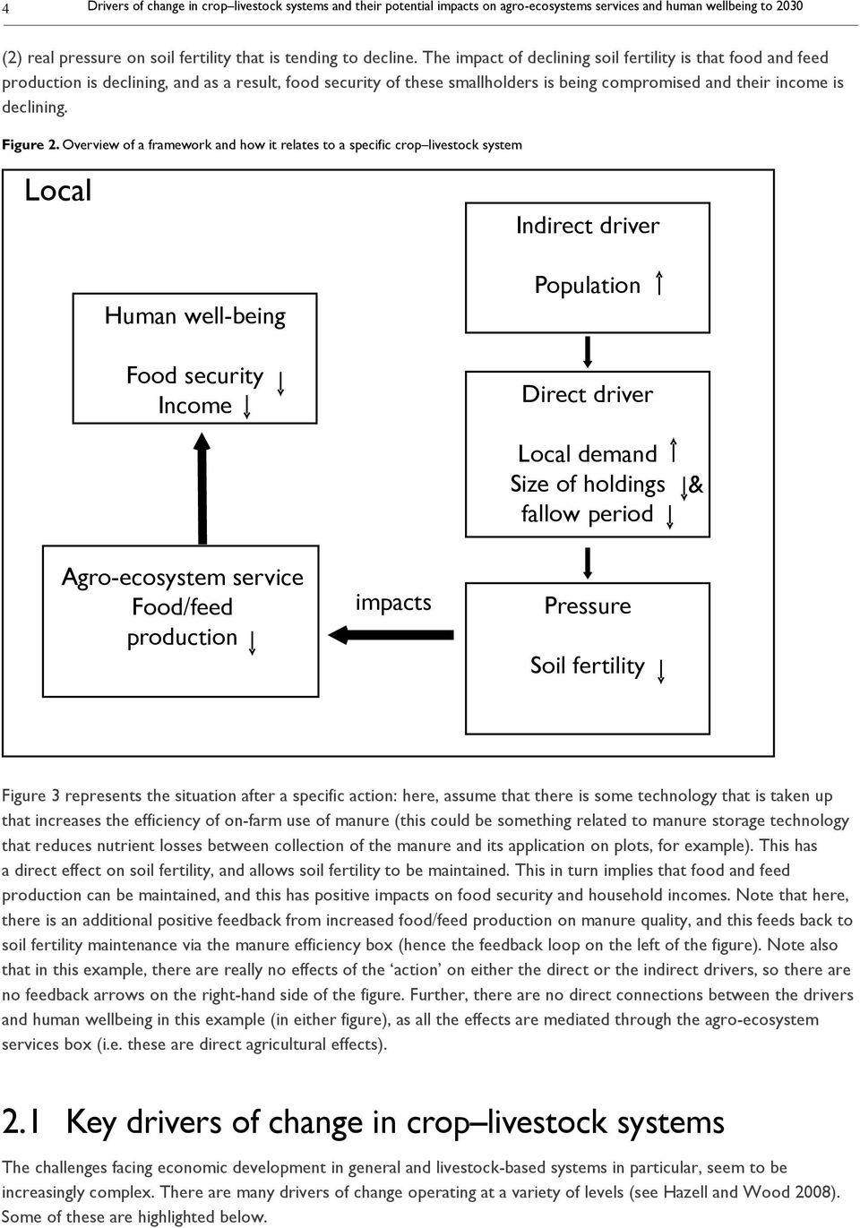 Overview of a framework and how it relates to a specific crop livestock system Local Indirect driver Human well-being Food security Income Population Direct driver Local demand Size of holdings