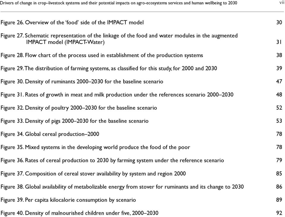 Flow chart of the process used in establishment of the production systems 38 Figure 29. The distribution of farming systems, as classified for this study, for 2000 and 2030 39 Figure 30.