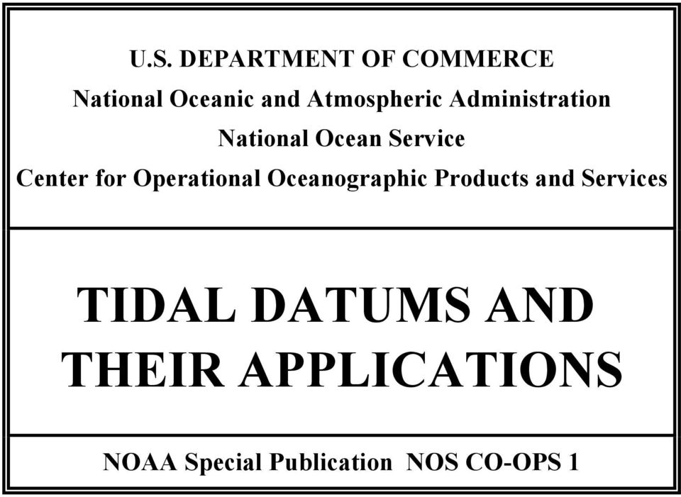 for Operational Oceanographic Products and Services TIDAL