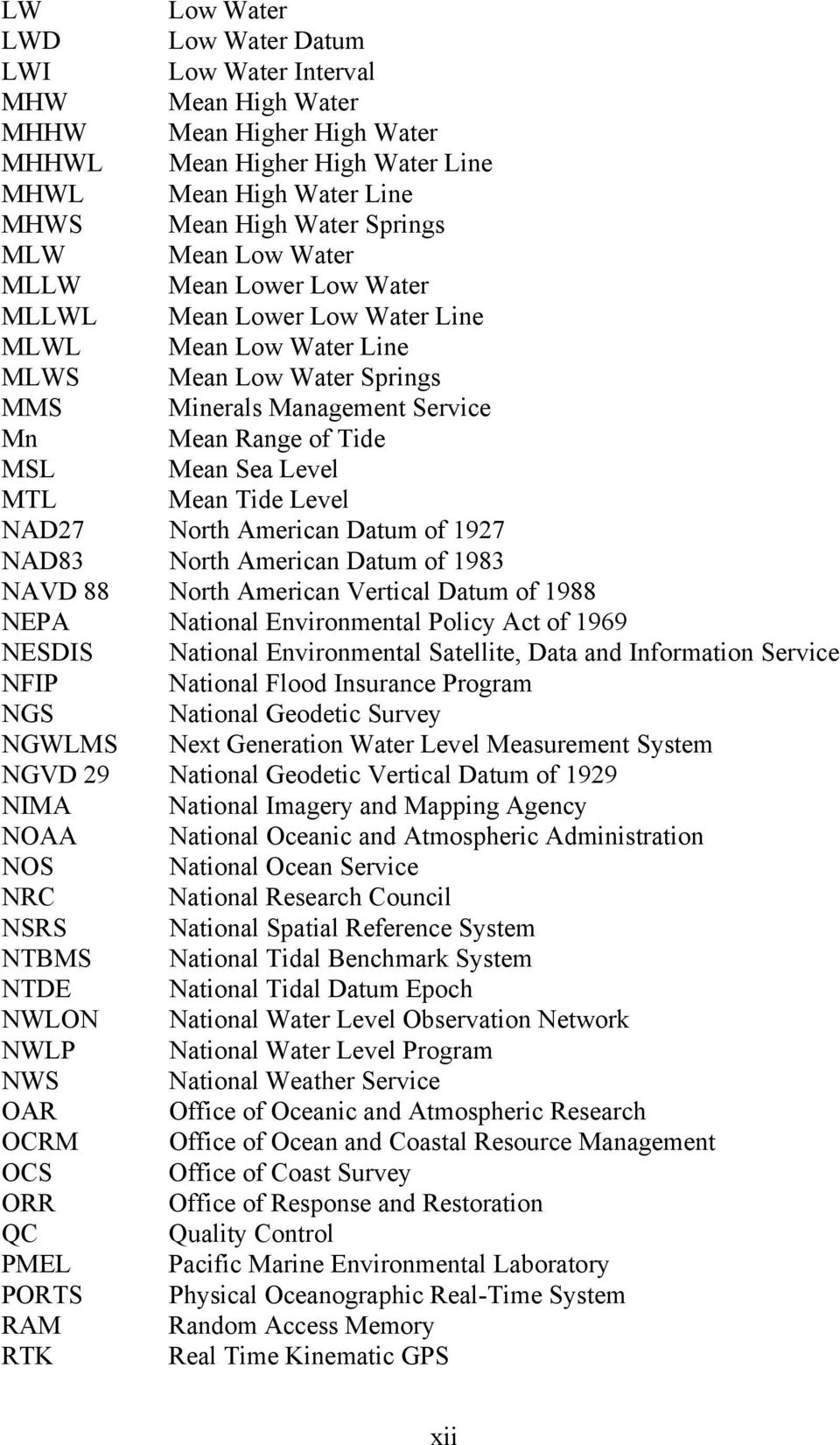 MTL Mean Tide Level NAD27 North American Datum of 1927 NAD83 North American Datum of 1983 NAVD 88 North American Vertical Datum of 1988 NEPA National Environmental Policy Act of 1969 NESDIS National