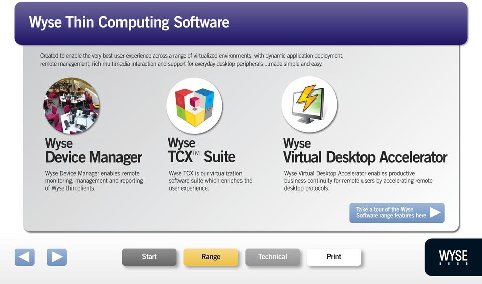 Wyse Device Manager Wyse Device Manager enables remote monitoring, management and reporting of Wyse thin clients.
