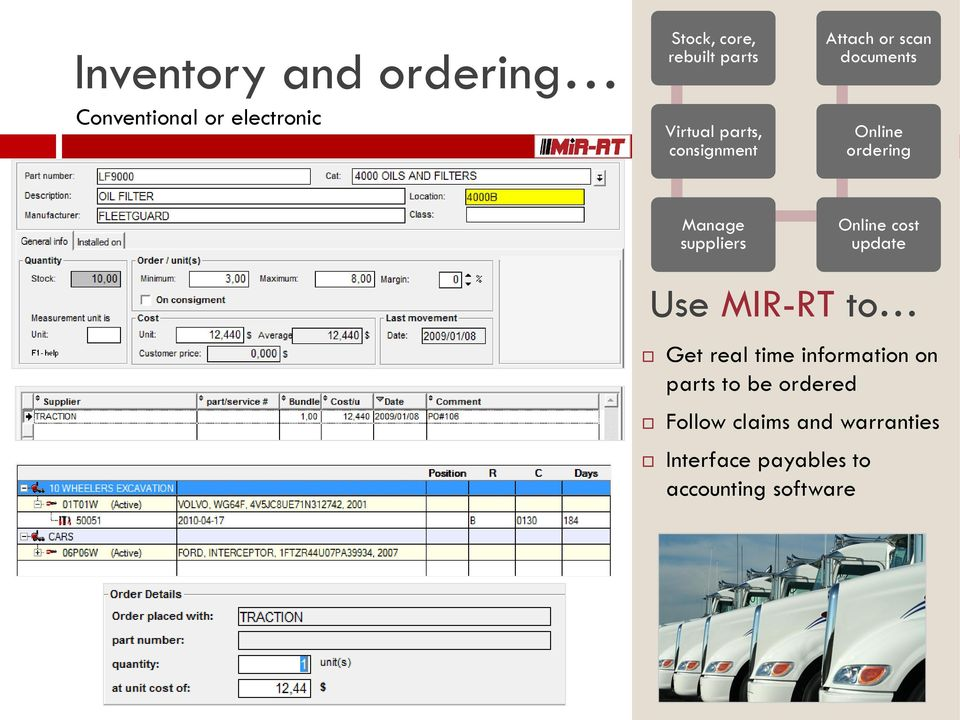 Manage suppliers Online cost update Get real time information on parts to