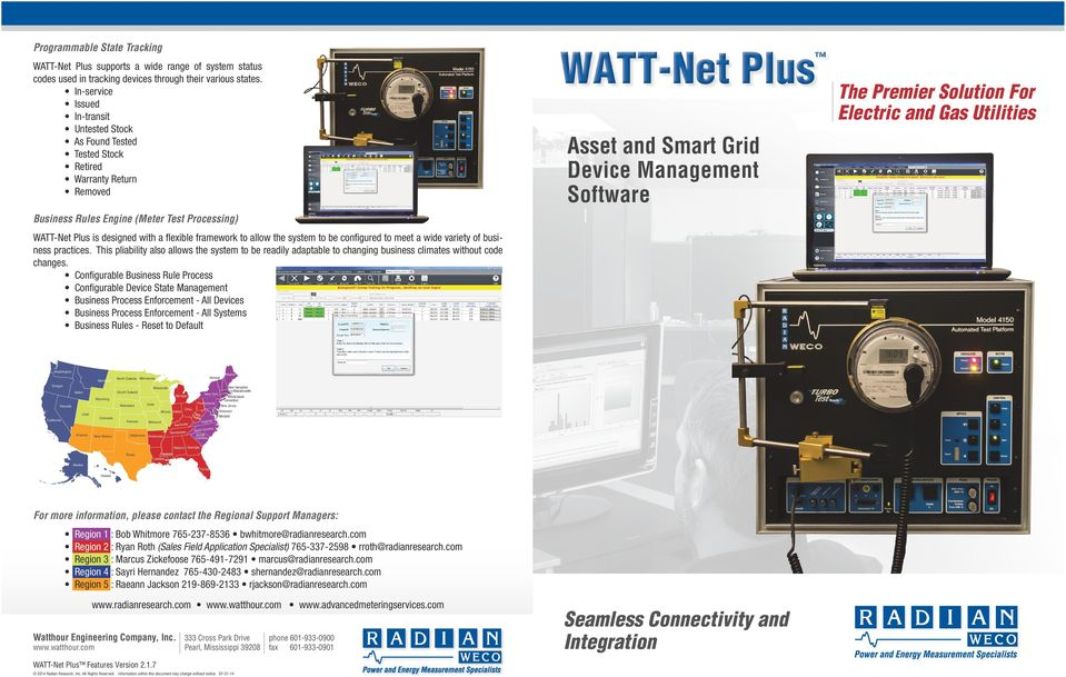 Software Business Rules Engine (Meter Test Processing) WATT-Net Plus is designed with a flexible framework to allow the system to be configured to meet a wide variety of business practices.