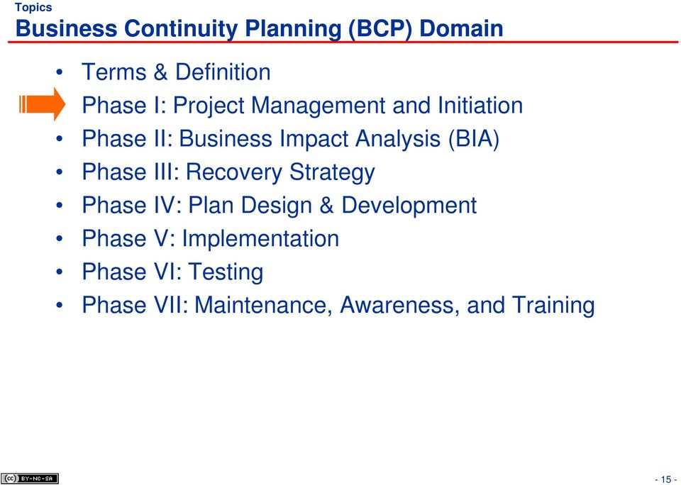 Phase III: Recovery Strategy Phase IV: Plan Design & Development Phase V: