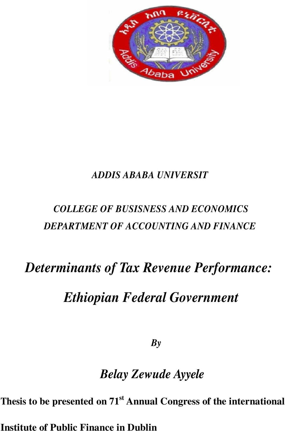 ethiopian ma thesis on accounting and finance pdf